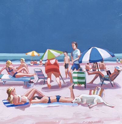 "Paul Norwood, '""Girls Best Friend"" acrylic painting of colorful beach scene with blue sky', 2020"