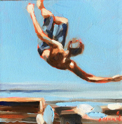 "Elizabeth Lennie, '""Mythography #112"" abstract oil painting of a boy jumping in the water', 2018"