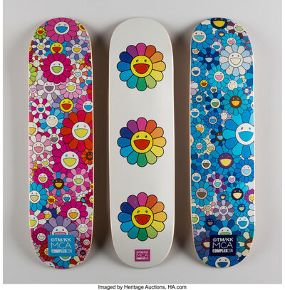 Takashi Murakami, 'Multi Flower 8.0 Skate Decks (Blue, Pink, and White) (three works)', 2016