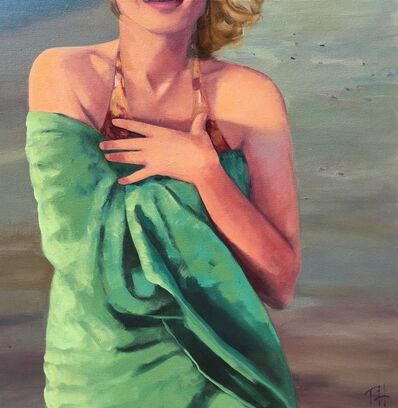 T.S. Harris, '''Sunset at the Shore'' Oil painting of women wrapped in a green beach towel', 2019