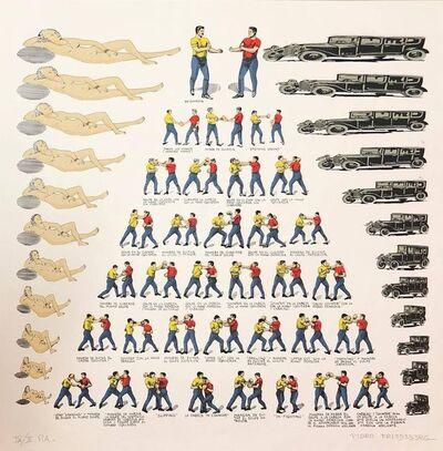Pedro Friedeberg, 'Mexican Modernist Master Surrealist, Ziggurat Boxers, Nudes, Silkscreen Print', 1970-1979