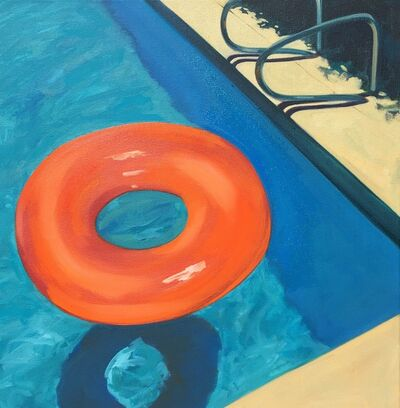 "T.S. Harris, '""Pool Floaty"" Bright Orange Tube Floating in Deep End of Blue Pool', 2010-2018"