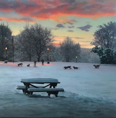 Scott Prior, 'Dogs Playing in the Park After the Snowstorm', 2018