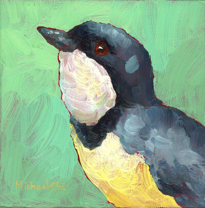 "Michael-Che Swisher, '""Working on My Swing"" Oil portrait of a grey and white bird with green background', 2019"