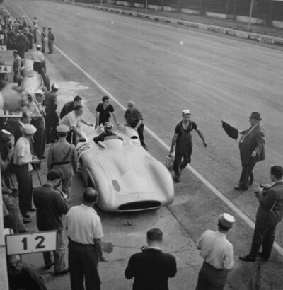 Jesse Alexander, 'Juan Manuel Fangio, Mercedes W196, Grand Prix of Italy, Monza', 1955
