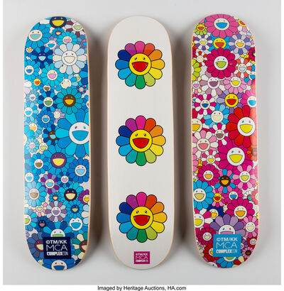 Takashi Murakami, 'Multi Flower 8.0 Skate Decks (Blue, Pink, and White)', 2017
