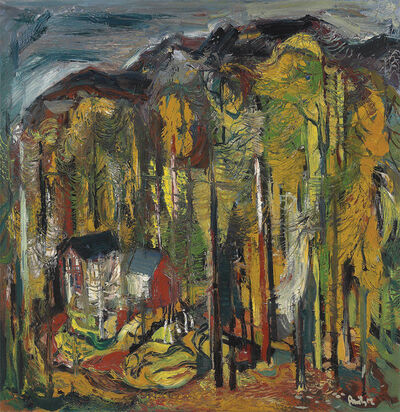 Avinash Chandra, 'Untitled (Houses in the forest)', ca. 1950