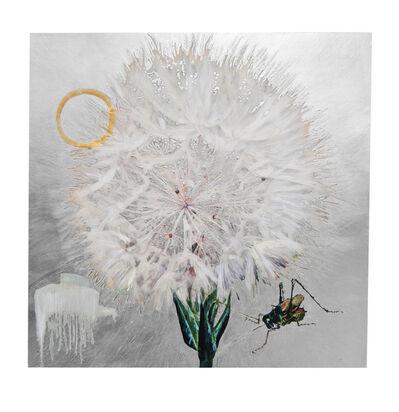 Hung Liu, 'Dandelion with Cricket - Silver', 2020