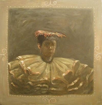Olga Antonova, 'Self Portrait with Red Feathered Cap'