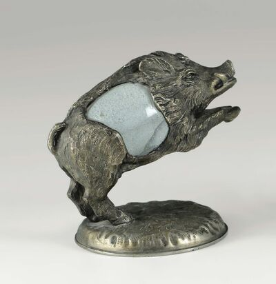 Gabriella Crespi, 'A boar figurine with a bronze and glass structure', 1970 ca.