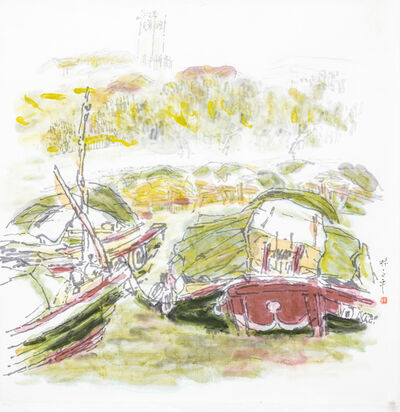 Lim Tze Peng, 'Bumboats on the Singapore River', 1980-1990s