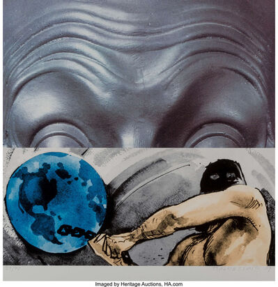 John Baldessari, 'Raised Eyebrows/Furrowed Foreheads/Figure with Globe', 2009