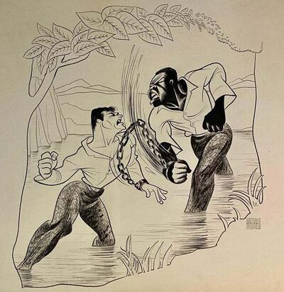 "Al Hirschfeld, '""The Defiant Ones"" Tony Curtis Sidney Poitier Oscar Winning 1958 film Caricature', 1958"