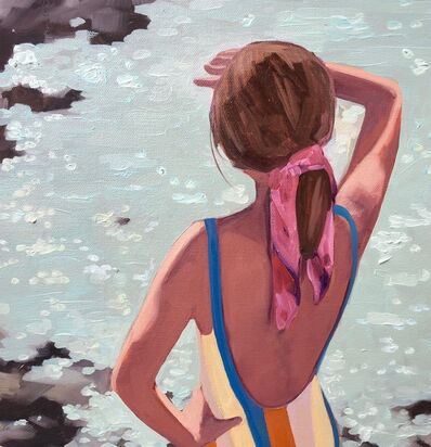 "T.S. Harris, '""Dazzling Sea"" oil painting of a girl in swimsuit looking out on sparkling water', 2019"