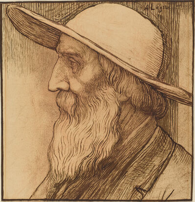 Alphonse Legros, 'Head of an Old Man with a Wide-Brimmed Hat'