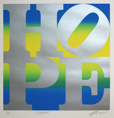 Robert Indiana, ' HOPE September (silver over blue-yellow-blue blend) ', 2015