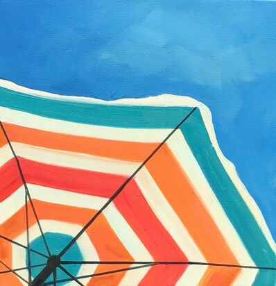 """T.S. Harris, '""""Bright Umbrella"""" Oil Painting of an orange, red and teal Striped Beach Umbrella in a Sunny blue Sky', 2010-2018"""