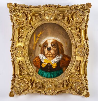 Donald Roller Wilson, 'Donald Roller Wilson Original Dog Portrait Oil Painting Wondering At It Contemporary Art ', 2013