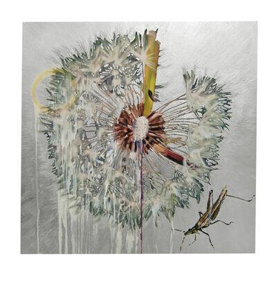 Hung Liu, 'Dandelion with Grasshopper - Silver', 2020