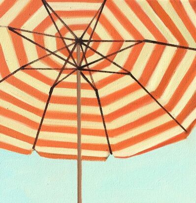 "T.S. Harris, '""Orange and White Striped Umbrella"" small brightly colored close up oil painting', 2018"
