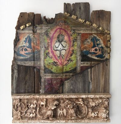 Joshua Goode, 'Painting & Relief Sculpture on old barn door: 'The Birth of Rhomulus and Rhemus'', 2018
