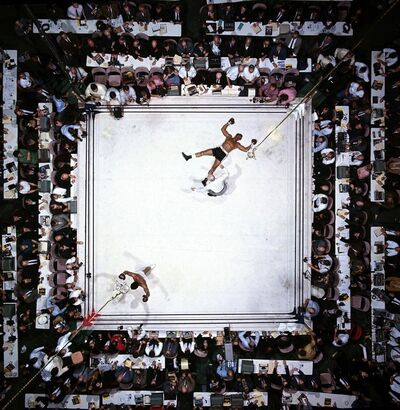 Neil Leifer, 'Aerial View of Muhammad Ali Victorious after Round 3 Knockout of Cleveland Williams During Fight at Astrodome, November 14th', 1966