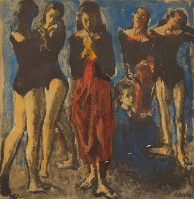 "Moses Soyer, 'Artists Hand Signed and Inscribed ""Ballet Dancers""  Holiday Greeting Card', Mid-20th Century"