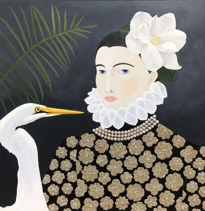 "Leslie Barron, '""Woman with Egret"" mixed media painting of a woman in baroque top with white flower and bird', 2019"
