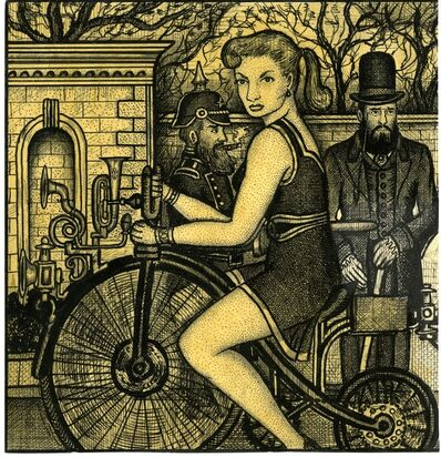 Renaldo Kuhler, 'Janet Lingart Riding a Bike; Maestro Chevaliere Standing in the Background', 1958
