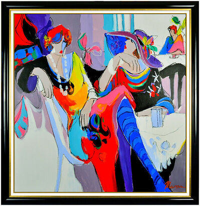 Isaac Maimon, 'Isaac Maimon Large Original Oil Painting On Canvas Signed Lady Portrait Cafe Art', 20th Century