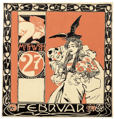 Koloman Moser, 'Calendar sheet: Wednesday, February, 27', 1901
