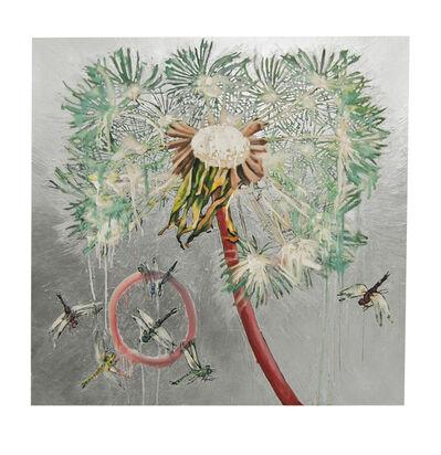 Hung Liu, 'Dandelion with Dragonflies - Silver', 2020