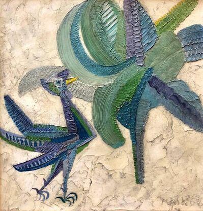 Henri Maik, 'Naive Oil Painting Primitive Folk Art Jungle Scene with Bird and Flower', 1960-1969