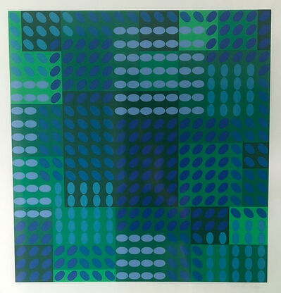 Victor Vasarely, 'Blue & Green, Ovals & Squares', 1970