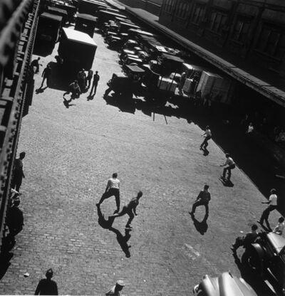 Andreas Feininger, 'Playing ball outside entrances to Hudson River, NY', 1949