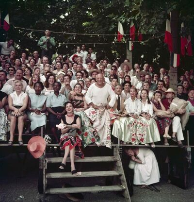 Jacques Henri Lartigue, 'Jacqueline Roque, Picasso, Jean Cocteau, Francine and Carole Weisweiller and Florette, at the Bullfight, Vallauris, France', 1955