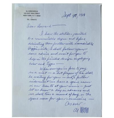 "Al Hirschfield, '""Al Hirschfield's Original Design Letter for the LOVE Stamp"", Signed, For the United States Postal Service', 1988"