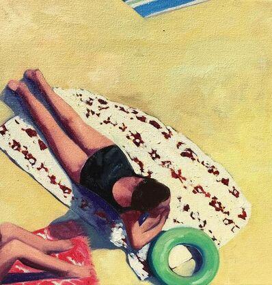 "T.S. Harris, '""Beach Day II"", Oil painting of a woman in a black suit sunbathing', 2019"