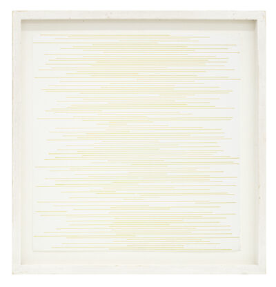 Sol LeWitt, 'Straight parallel lines of random length not touching sides (yellow)', 1972