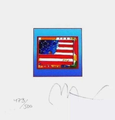 Peter Max, 'Flag with Heart on Blue', 2002