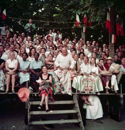 Jacques Henri Lartigue, 'Jacqueline Roque et Picasso, Jean Cocteau, Francine et Carole Weisweiller, et, assise devant, Florette, course de taureaux, Vallauris', 1955