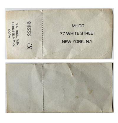 Andy Warhol, 'Mudd Club NYC- Admission Ticket #22285 (unused), circa. 1978-83', ca. 1978-83