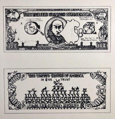 Öyvind Fahlström, '1960's Pop Art Silkscreen Print 108$ Bill Inflation Hand Signed and Numbered', 1970-1979