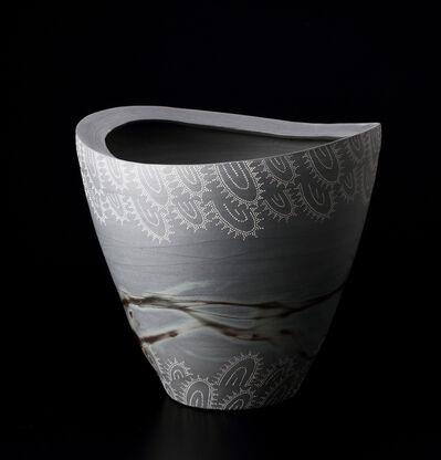 Suzuki Miki, 'Blue Bizen Flower Vase with White Clay Patterns', 2014