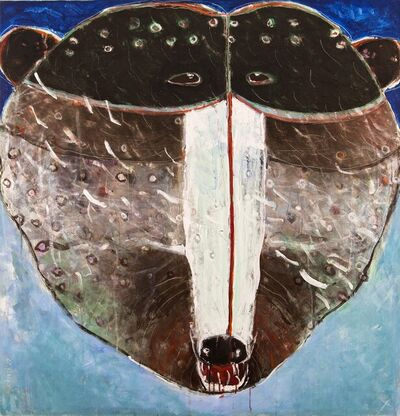 Rick Rivet, 'Rain Face Grizzly - brown, blue, animal, indigenous figurative acrylic on canvas', 2020