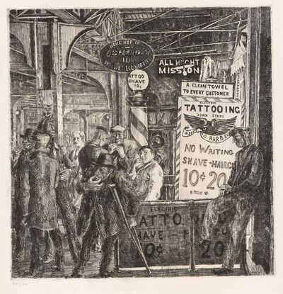 Reginald Marsh, 'Tattoo-Shave-Haircut (Sasowsky 140)', 1932