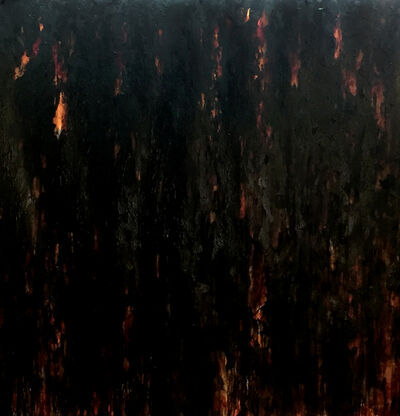 donna e perkins, 'Run: Shroud for My Father - Layers of Thick Paint Run Down the Thick Paper; Black Covers Red and Metallics.', 2018