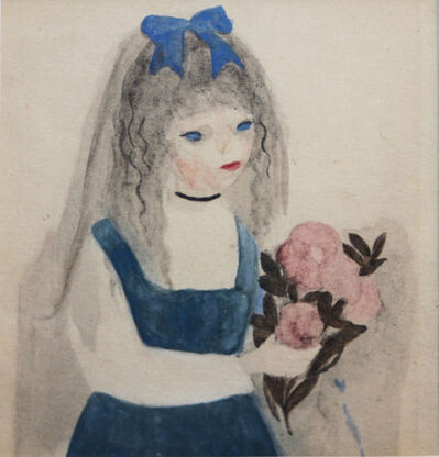 Marie Laurencin, 'Girl with Blue Ribbon and Pink Flowers', 1910-1930