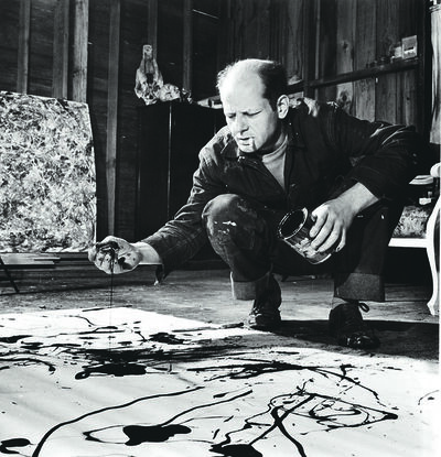 Martha Holmes, 'Artist Jackson Pollock Dribbling Sand on Painting While Working in his Studio'