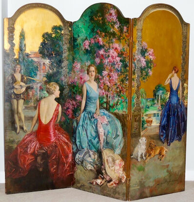 Howard Chandler Christy, 'Four Women in a Fanciful Garden Setting'